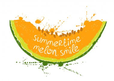 Hand drawn illustration with isolated orange slice of melon on a white background. Typography poster with creative slogan. clip art vector
