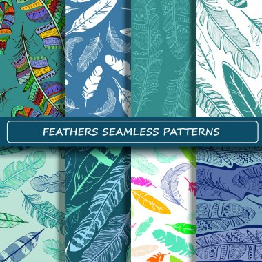 Set of blue white abstract ethnic bird feather seamless pattern.