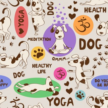 Seamless pattern with dog doing yoga position.