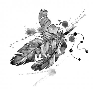 Watercolor illustration with bird feathers.