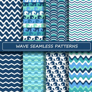 Set of blue and white sea wave seamless patterns.