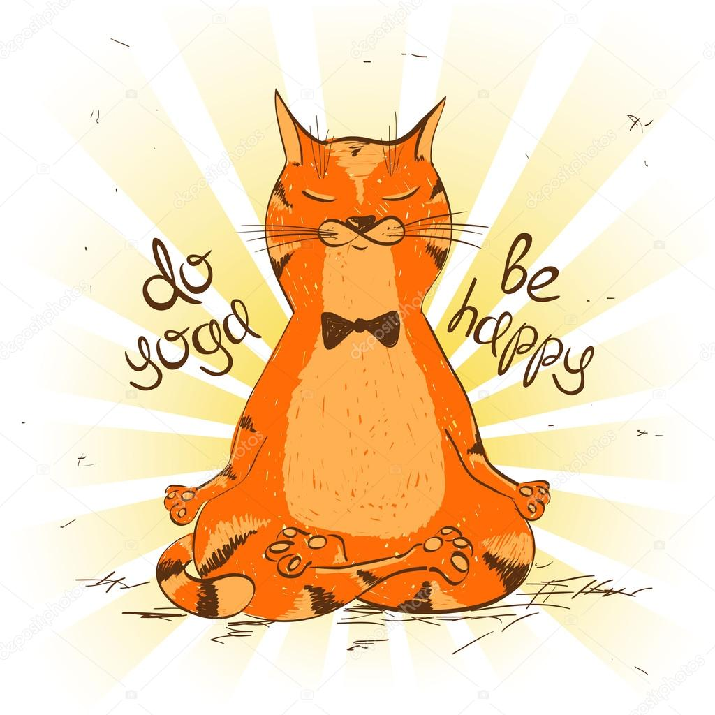 Cartoon Red Cat Sitting On Lotus Position Of Yoga Stock Vector
