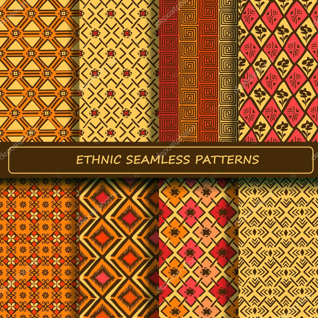 Set of yellow orange brown abstract ethnic geometric seamless pa