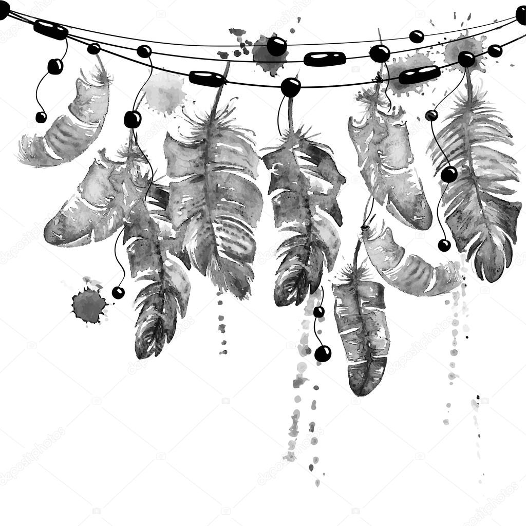 Watercolor hanging bird feathers.