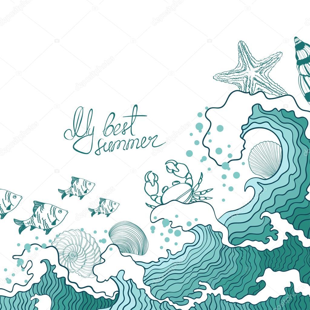 Summer illustration of ocean waves and marine life.