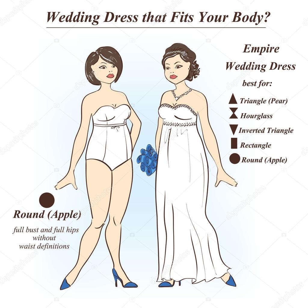 Woman in underwear and Empire wedding dress.