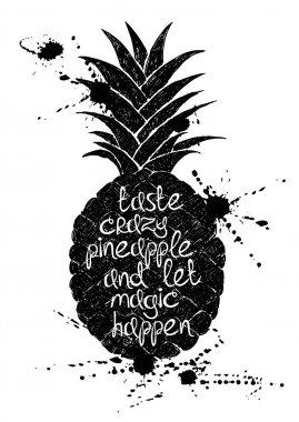 Black and white illustration of black pineapple fruit silhouette