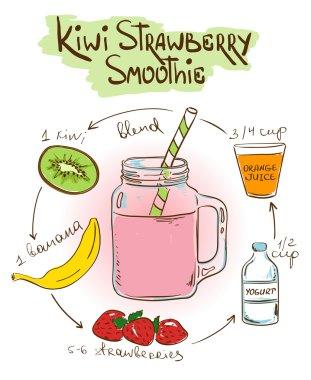 Sketch Kiwi Strawberry smoothie recipe.