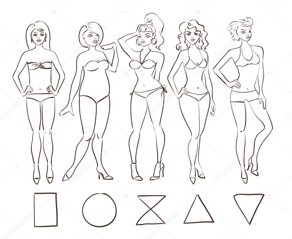 Boceto conjunto de tipos de forma de cuerpo femenino aislado ...