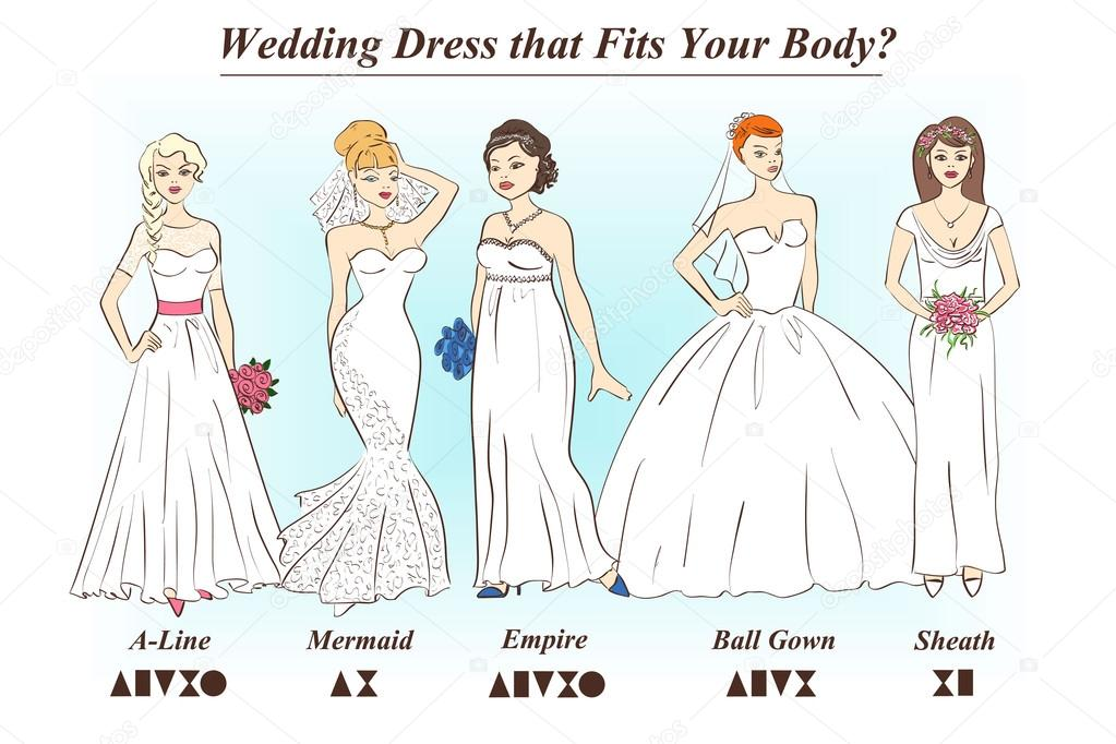 Set Of Wedding Dress Styles For Female Body Shape Types Stock