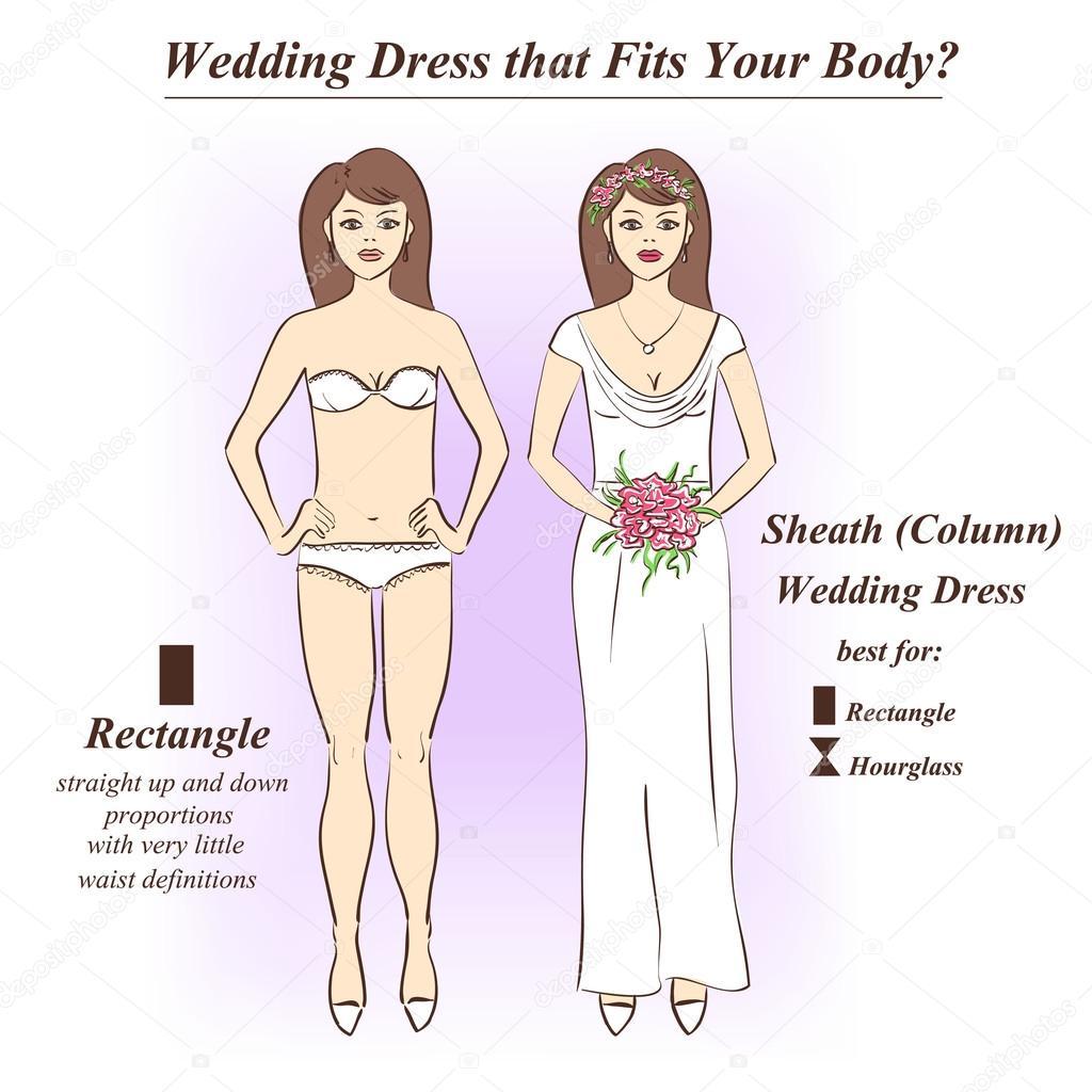 Woman in underwear and Sheath wedding dress.