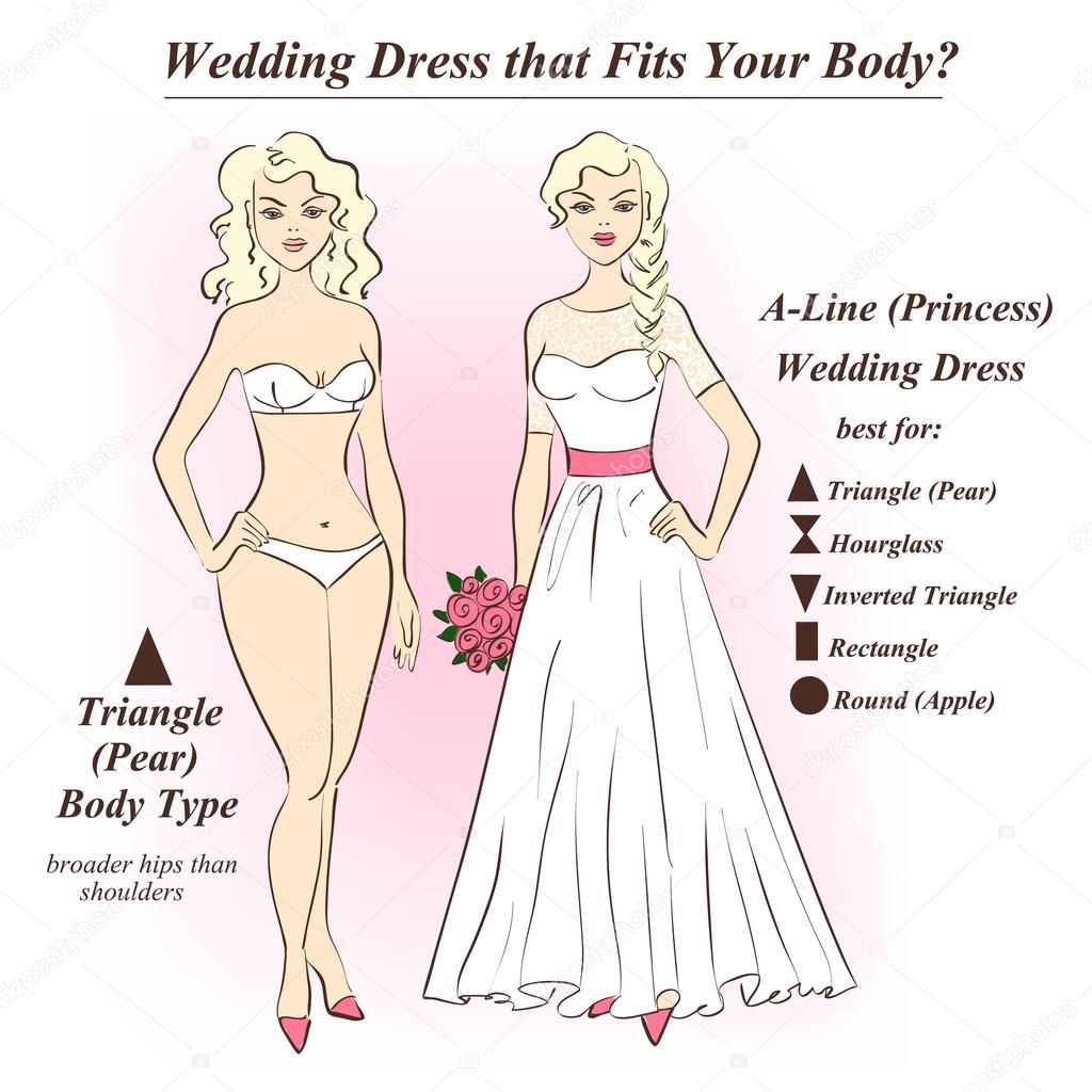 Woman in underwear and A-Line wedding dress.