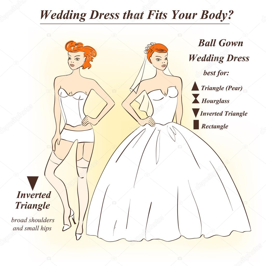 Woman in underwear and Ball Gown wedding dress.