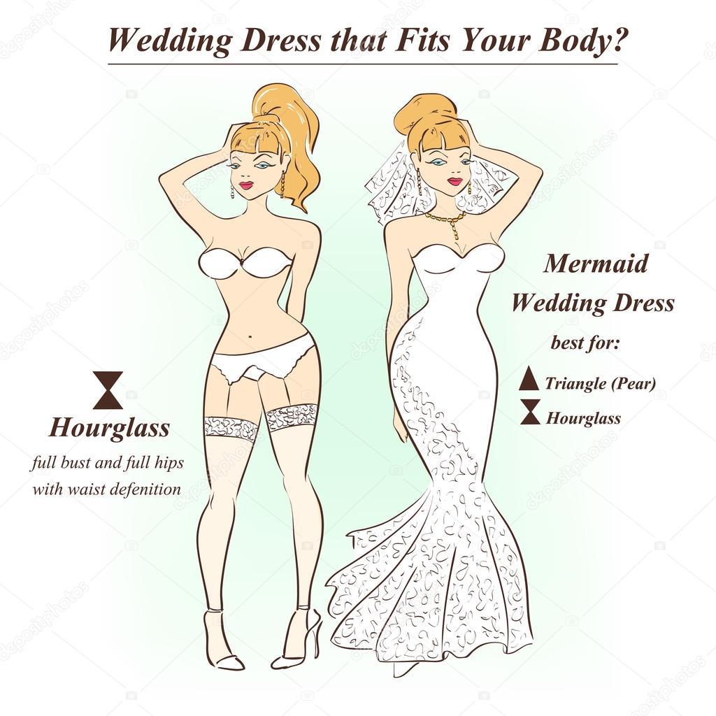Frau in Unterwäsche und Mermaid Brautkleid — Stockvektor © Annykos ...