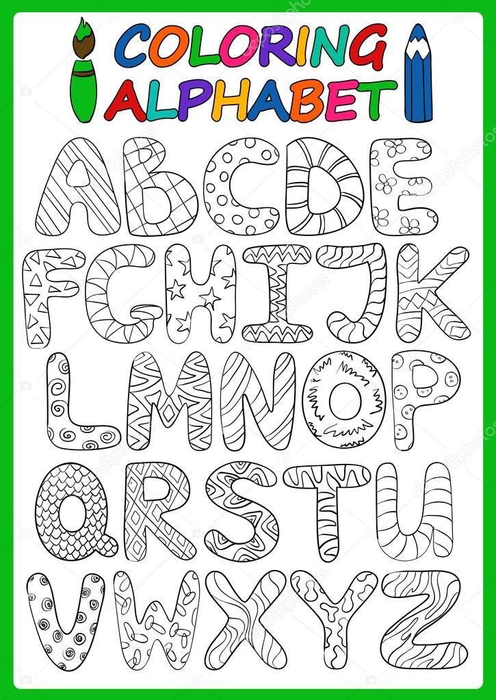 Kinder-Alphabet mit Großbuchstaben Cartoon Färbung — Stockvektor ...