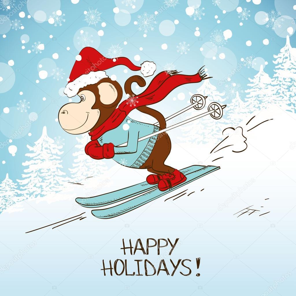 Lustige Cartoon Ski Monkey Stockvektor Annykos 92762152
