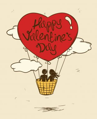 Love Greeting Card With Flying Couple In Hot Air Balloon.