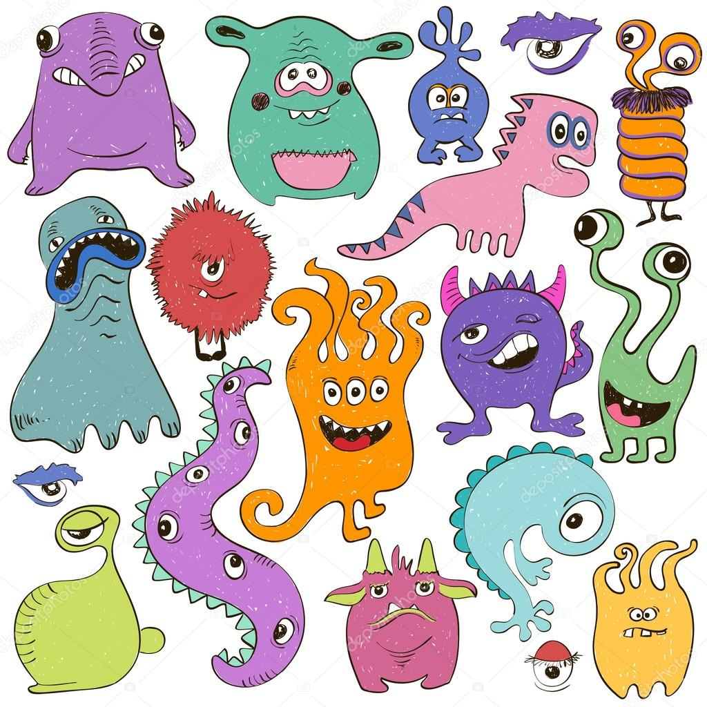 conjunto de aislados de dibujos animados monstruos vector de stock