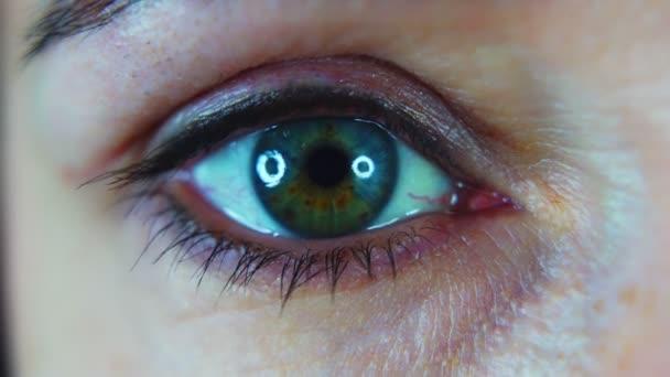 Green-blue female eye macro close-up. 4k