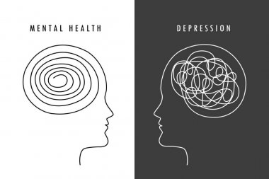 Mental health concept man brain silhouette vector illustration EPS10 icon