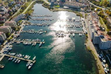 Streletskaya Bay from Sevastopol. Photo from 100 meters from a quadrocopter. Marina for yachts.