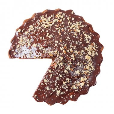 Top view of glazed and sprinkled pie without a piece
