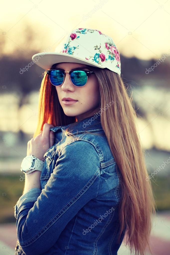 Outdoor Fashion Portrait Of Stylish Swag Girl Wearing Swag