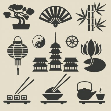 Asian icons set - vector illustration. eps 8 stock vector