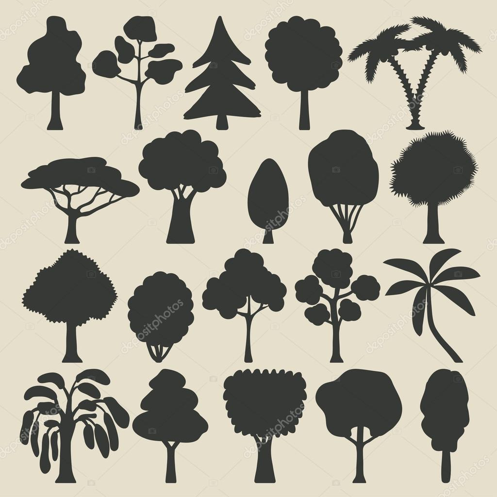Trees silhouette icons set