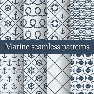 Blue marine seamless patterns set