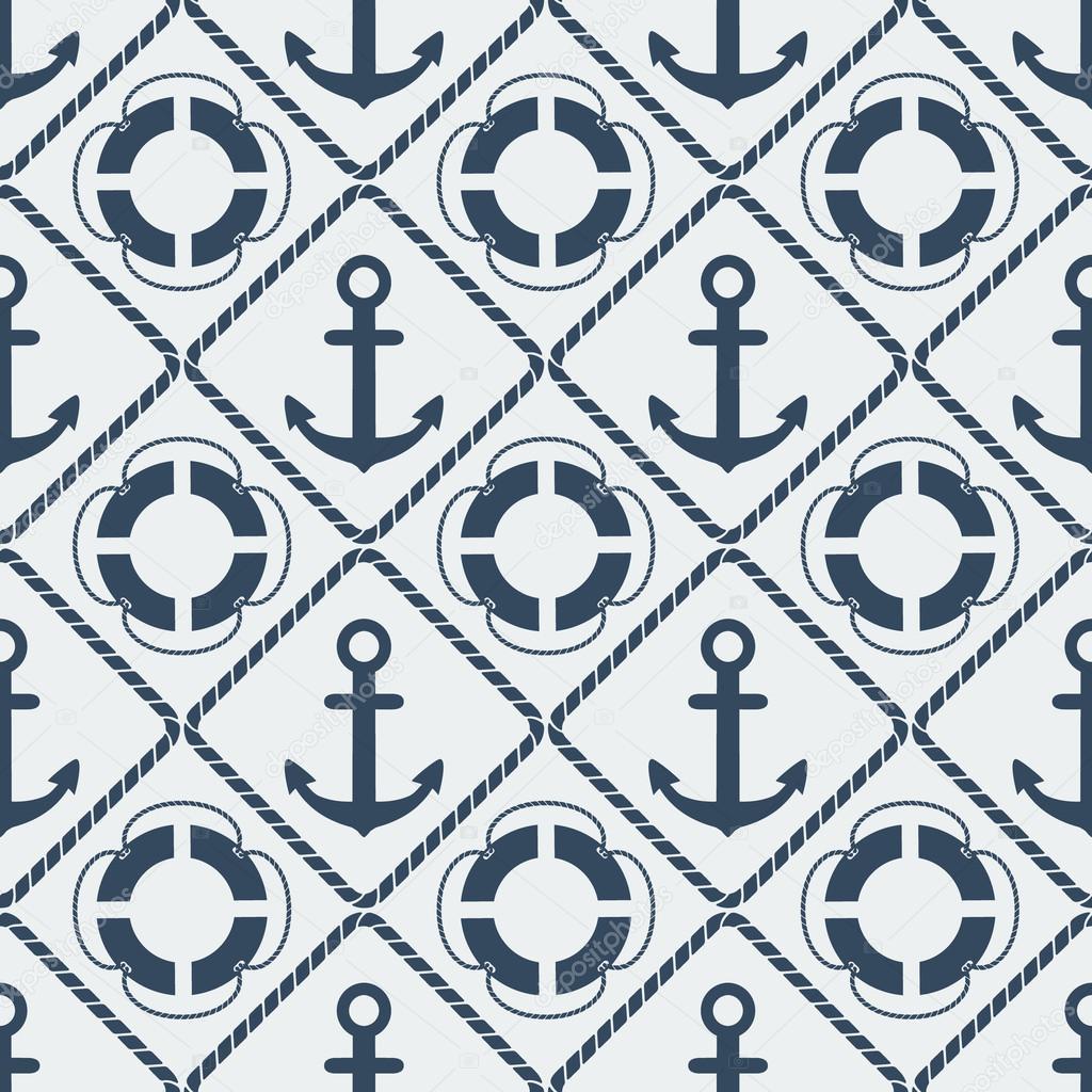 anchors lifebuoy seamless pattern