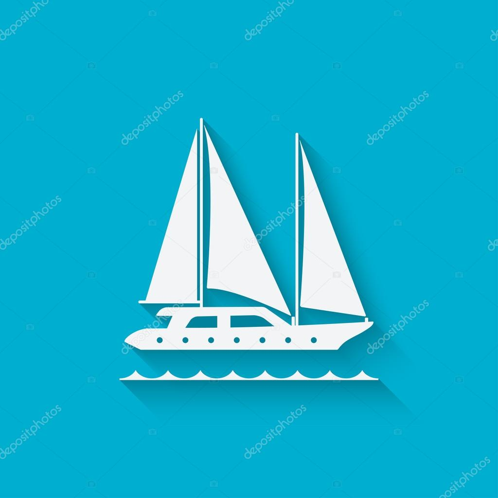 marine background with yacht