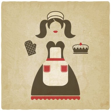 Baking concept illustration. girl with pie old background