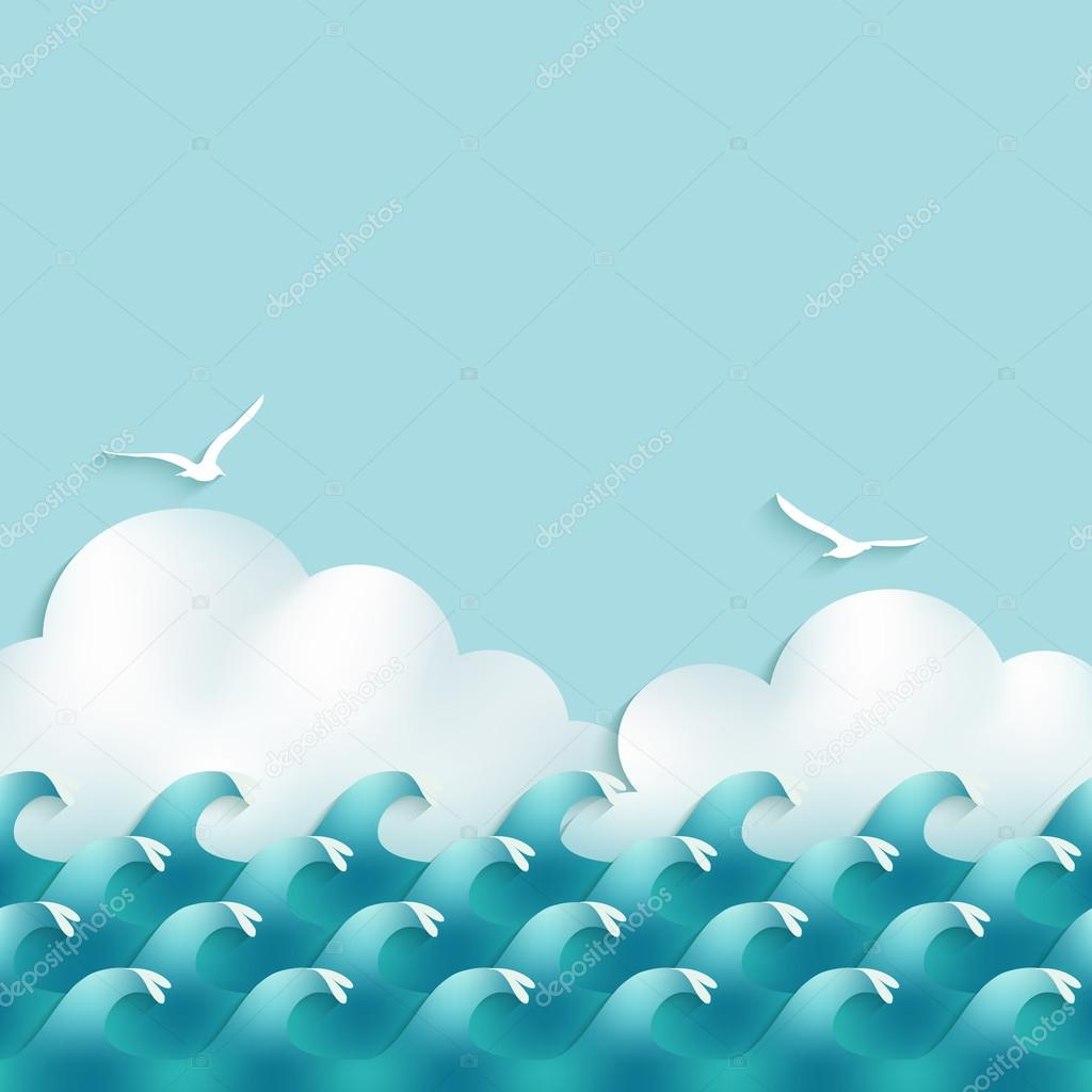 sea background with waves, clouds and seagulls