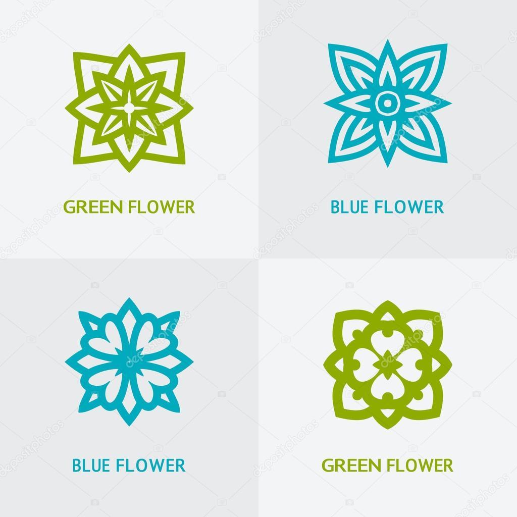 natural floral logo set