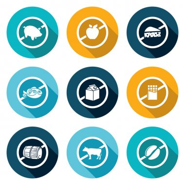 Russian restrictions on imports and exports Icons Set. Vector Illustration.