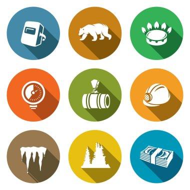 Gas transit Icons Set. Vector Illustration.