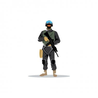 Man in military equipment for special operations. stock vector