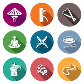 Fotografie Kampfkunst, Wing Chun Icons Set. Vektor-Illustration