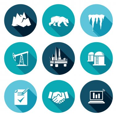Oil production in the Arctic Icons Set. Vector Illustration.