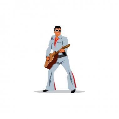 Musician artist with a guitar. Vector Illustration.
