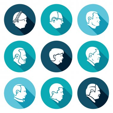People head Icons Set. Vector Illustration.