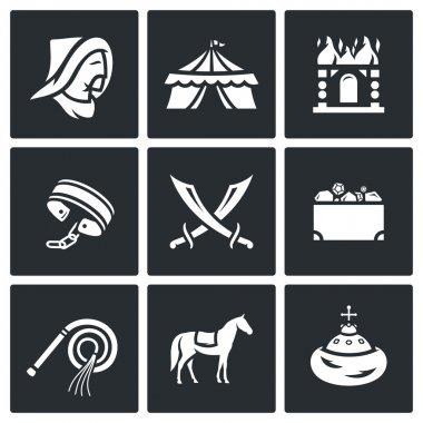 Mongol-Tatar yoke icons set. Vector Illustration.