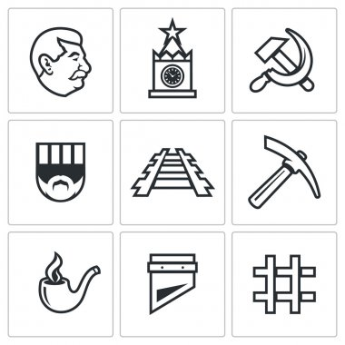 Soviet Union and the repression of political prisoners icons set. Vector Illustration.