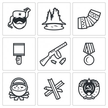 Guerrillas warrior icons set. Vector Illustration.