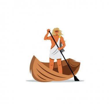 Charon sign. In Greek mythology, carrier souls of the dead across river Styx to Hades. Vector Illustration.
