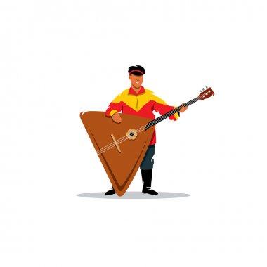 Russian balalaika and a man in traditional folk costume. Vector Illustration.