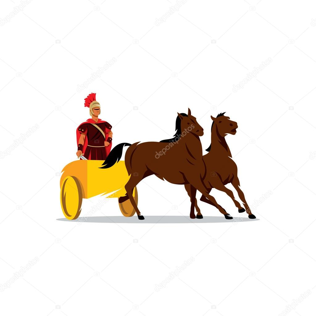 Chariot with a Roman gladiator sign. Vector Illustration. — Stock ...
