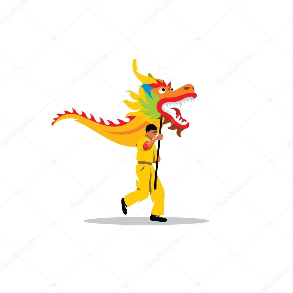 Dragao chines e um homem dancando no tradicional festival de ...