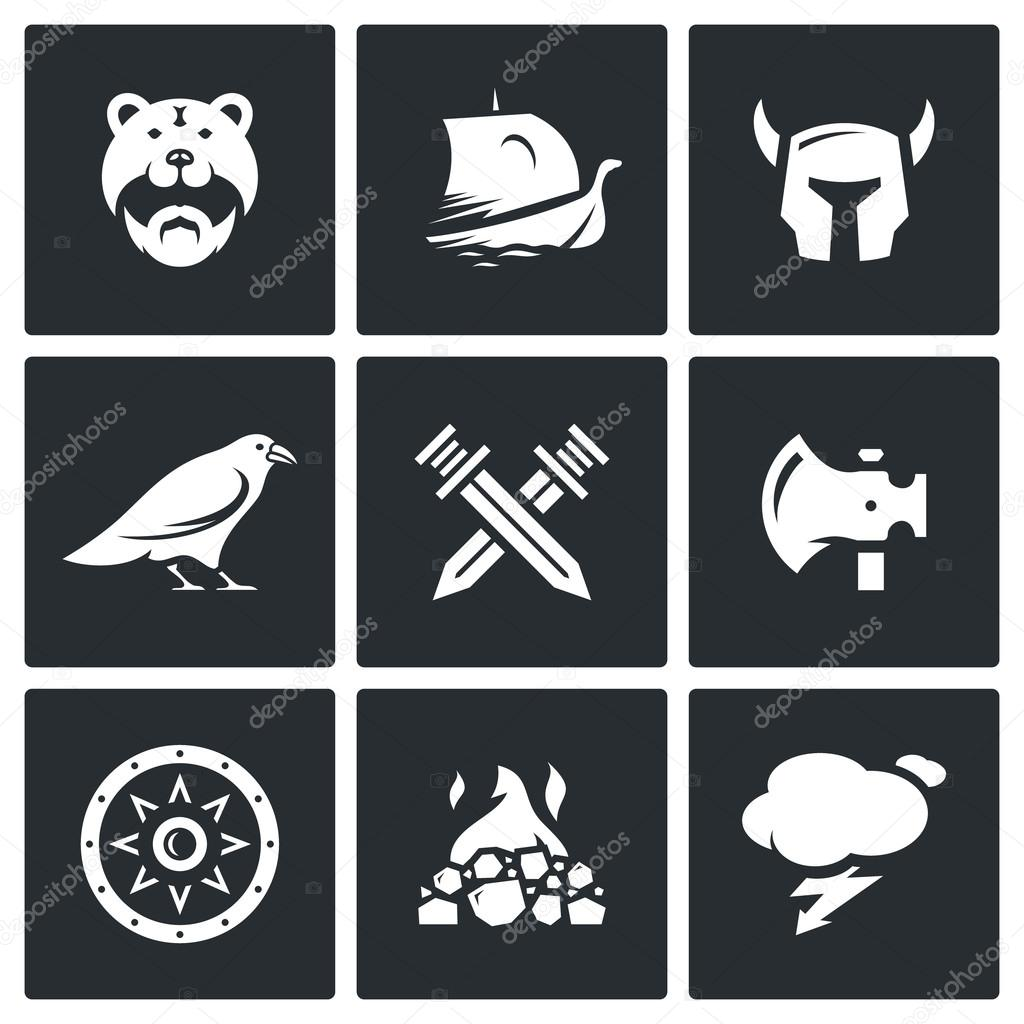 Vector Set of Viking Icons. Warrior, Ship, Ammunition, God, Battle, Weapon, Protection, Burial, Weather.